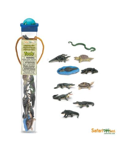 Figurines reptiles Tube Safari 685004 Matériel pédagogique Enrichissement Montessori Jouet Cartes maternelle science vocabulaire
