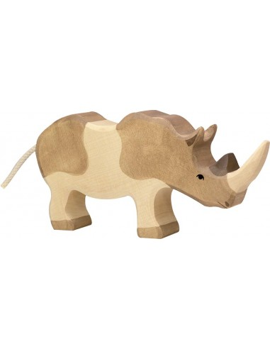 Figurine rhinocéros bois Animaux jungle Holztiger Jouet Goki jeu libre montessori reggio monde miniature construction eco europe
