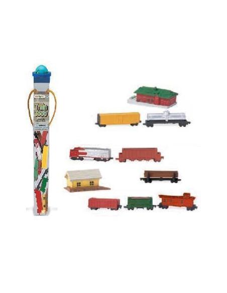 Figurines transports ferroviaires Tube Safari 684104 Matériel pédagogique Enrichissement Montessori Jouet Cartes maternelle scie