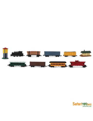 Les trains à vapeur Tube Safari 687504 Matériel pédagogique Enrichissement Montessori Jouet Cartes maternelle science vocabulair