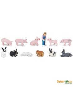 Porcelets + lapins figurine educative montessori education