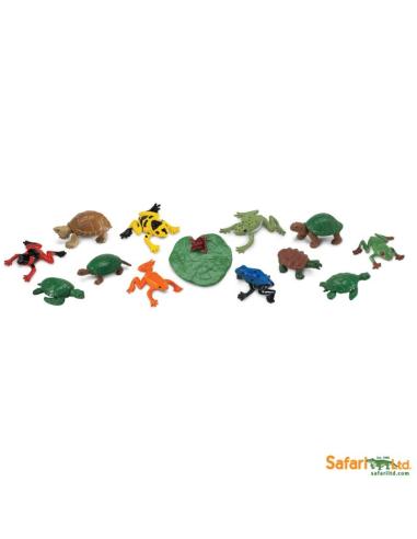Figurines grenouilles et tortues Tube Safari 694804 Matériel pédagogique Enrichissement Montessori Jouet Cartes maternelle scien