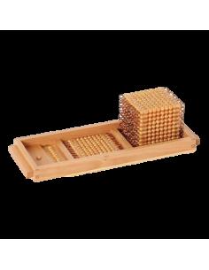 Plateau 1 système décimal quantit unité mille numération dorées Matériel Montessori didactique