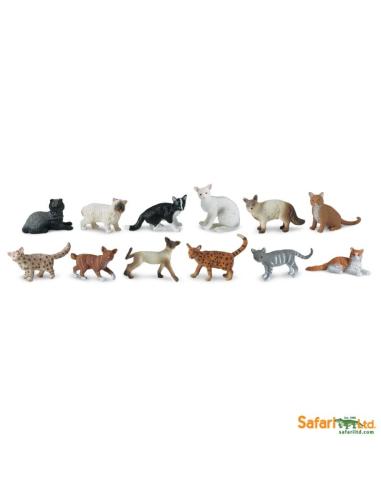 Figurines chats Tube Safari 699204 Matériel pédagogique Enrichissement Montessori Jouet Cartes maternelle science vocabulaire je