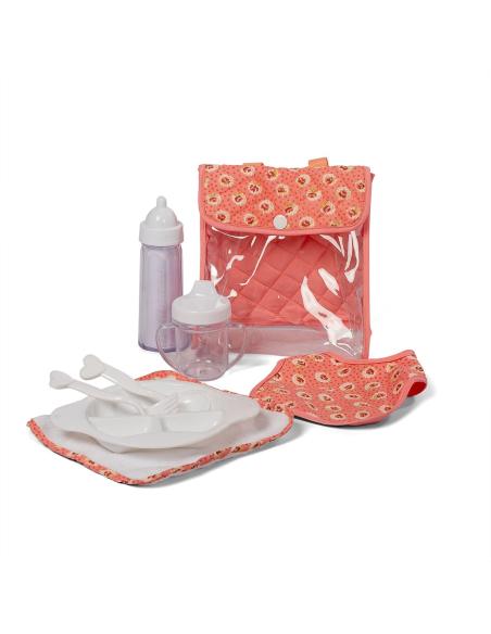 Set matériels nourrir poupée rose biberon tasse couvert bavoir jouet imitation semblant