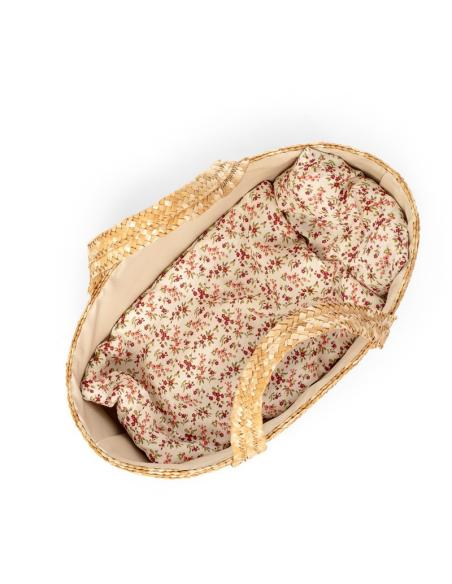 Panier en osier et garniture (ensemble de lit) jouet pour poupée de 35cm
