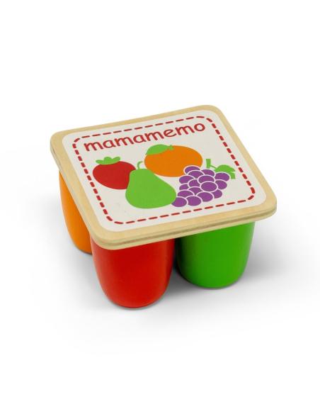 Lot Petits-suisses yaourts jouet bois poupee imitation frigo cuisine dinette mamamemo