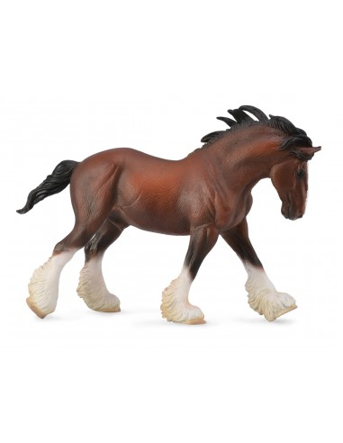 Figurine cheval clydesdale étalon bai Collecta 88621 Jouet réaliste replique Animaux Montessori Matériel pédagogique educatif en
