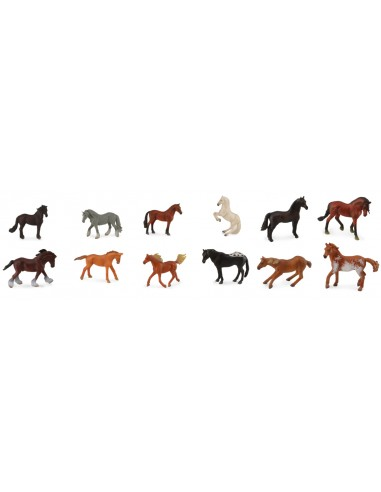 Figurines tube de 12 chevaux chevaux Collecta 89109 Jouet réaliste replique Animaux Montessori Matériel pédagogique educatif enr