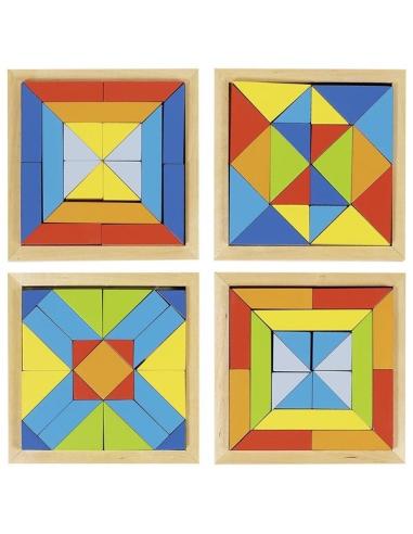 Lot de 4 puzzles mandala en bois (formes géométriques)
