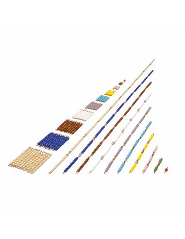 Chaine courtes de perles en verre (un carré de chque nombre est inclus) Montessori Nienhuis {PRODUCT_REFERENCE}  Mathématiques -