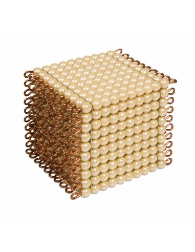 Un cube de 1000 perles dorées, en verre Montessori Nienhuis {PRODUCT_REFERENCE}  Mathématiques - 1