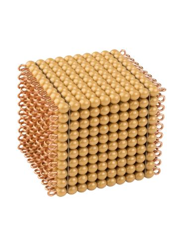 Un cube de 1000 perles dorées, en nylon Montessori Nienhuis {PRODUCT_REFERENCE}  Mathématiques - 1