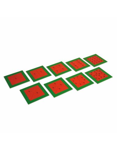 Encastrements métalliques (9 divisés en carrés /rectangles et triangles) Montessori Nienhuis {PRODUCT_REFERENCE}  Géométrie - 1