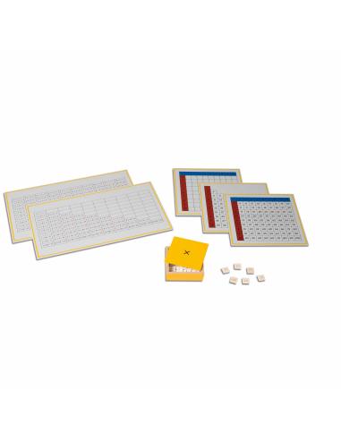 Tables de mémorisation de la multiplication (3 plateaux, 2 tableaux de contrôle et boite de jetons) Montessori Nienhuis {PRODUCT