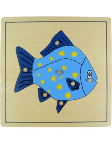 Puzzle poisson zoologie botanique Matériel Montessori didactique prehension encastrable pedagogique