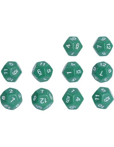 Dés 12 faces nombres 1 à 12 - Lot de 10 Ø16 x 16 x 16 mm Autres {PRODUCT_REFERENCE}  Probabilité statistique distributivité - 1