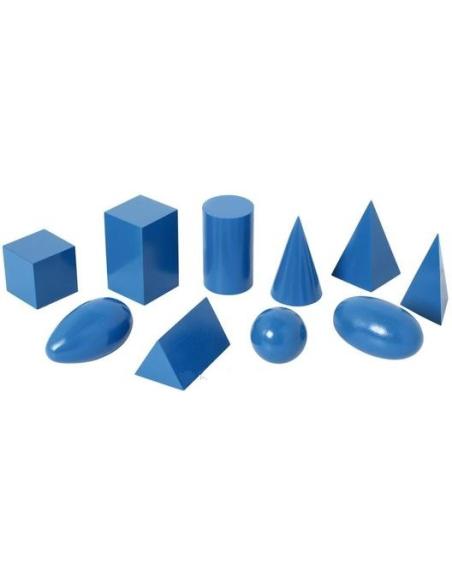 Solides géométriques bleus montessori materiel didactique volumes mathematiques maternelle bois