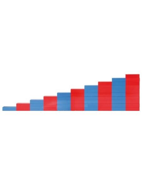 Barres rouges bleues montessori materiel didactique sensoriel mathématique quantité nombre chiffre maternelle cycle 1