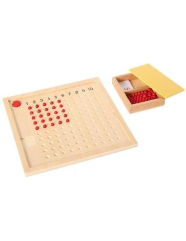 Tableau table multiplication Montessori materiel didactique perle rouge trou