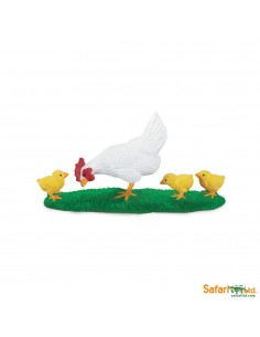 Poule & poussins figurine safari enrichissement montessori
