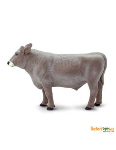Brown swiss taureau figurine safari enrichissement montessori animal ferme