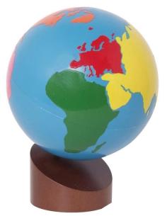 Globe couleur des continents materiel montessori didactique