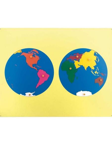 Puzzle carte planisphère continent monde matériel montessori