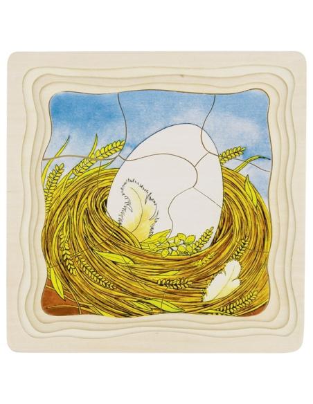 Puzzle GOKI bois évolution de la poule oeuf poussin 4 étages éducatif