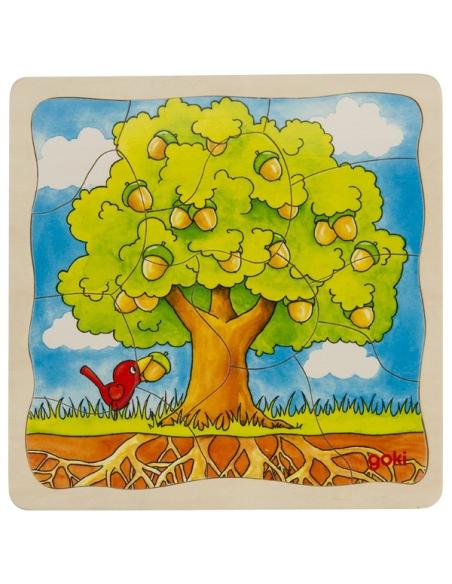 Puzzle GOKI bois évolution arbre plante graine arbustre 4 étages éducatif