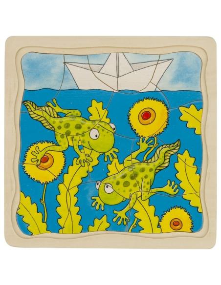 Puzzle GOKI bois évolution de la grenouille tetard 4 étages éducatif