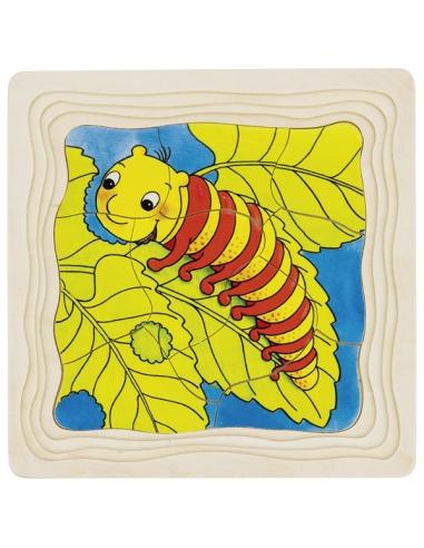 Puzzle GOKI bois évolution papillon couche 4 étages éducatif