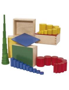Cylindres couleurs matériel montessori didactique activité ecole maternelle primaire géométrie 3D discrimination visuelle sensor