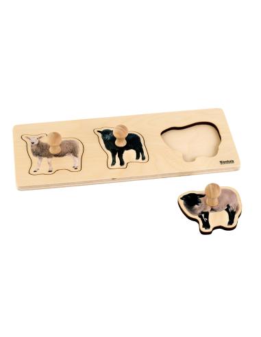 Puzzle premier âge : 3 Moutons Montessori Nienhuis {PRODUCT_REFERENCE}  Motricité - 1