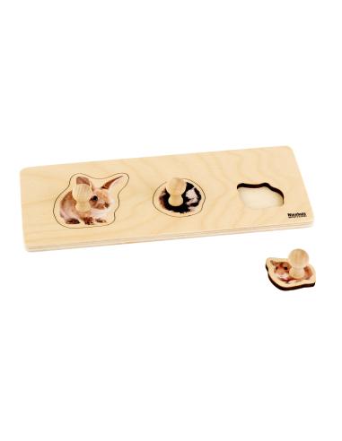 Puzzle premier âge : 3 Rongeurs Montessori Nienhuis {PRODUCT_REFERENCE}  Motricité - 1