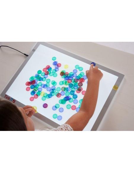 Lot 1000 jetons translucides table lumineuse compteur mathématiques transparent reggio