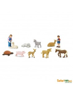 Parc animalier enfants figurine educative montessori education veau lapin lama faon tortue poney fille