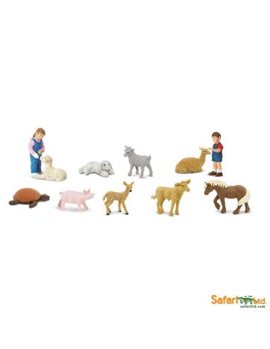 Parc animalier enfants figurine educative montessori education veau lapin lama faon tortue poney fille