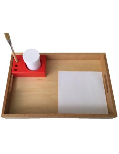 Plateau de collage colle matériel Montessori cognition motricité fine pot colle maternelle