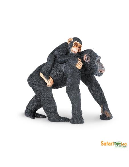 Chimpanzé et bébé figurine educative Safari montessori Afrique enrichissment decouverte neuroscience