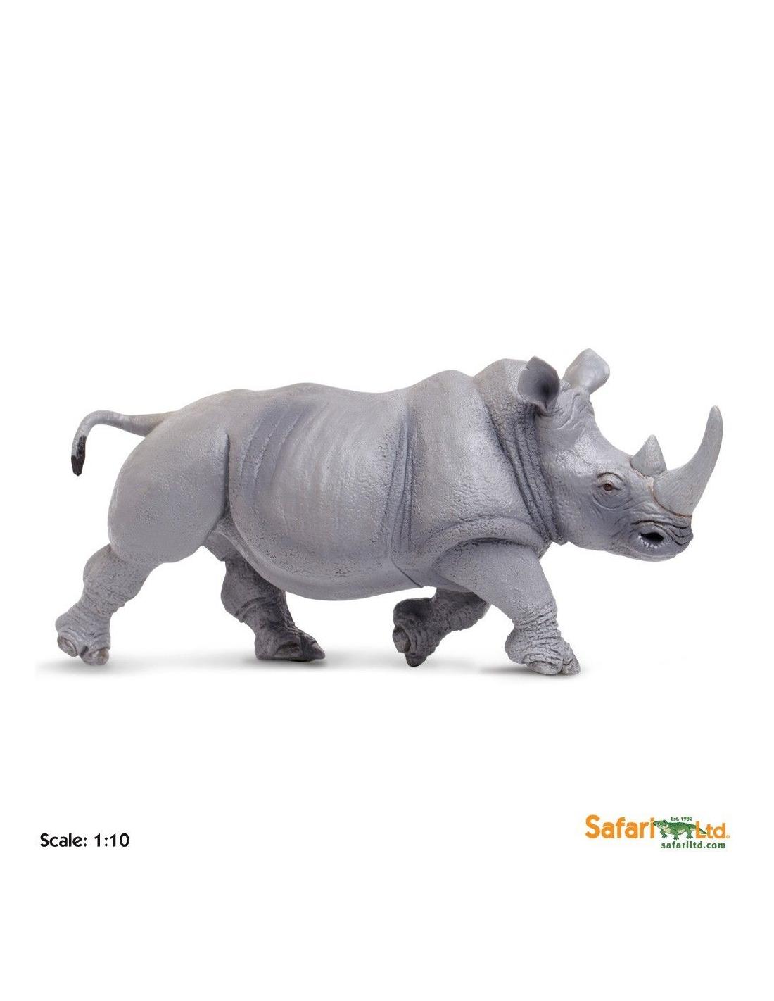 Xl Blanc Jouet Safari 32cm Afrique Figurine Rhinocéros Montessori XuOZPTik