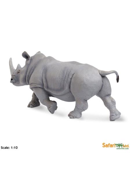 Figurine Rhinocéros blancgrand modèle Safari 111989 Matériel pédagogique Enrichissement Montessori Jouet Cartes maternelle scie