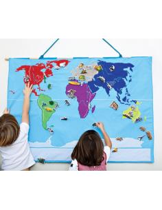 Planisphère en tissu Montessori carte monde jeu didactique pedagogique maternelle primaire apprendre jouet fait main