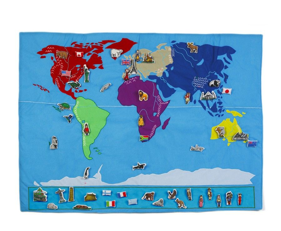 Planisphère en tissu matériel Montessori pedagogique educatif