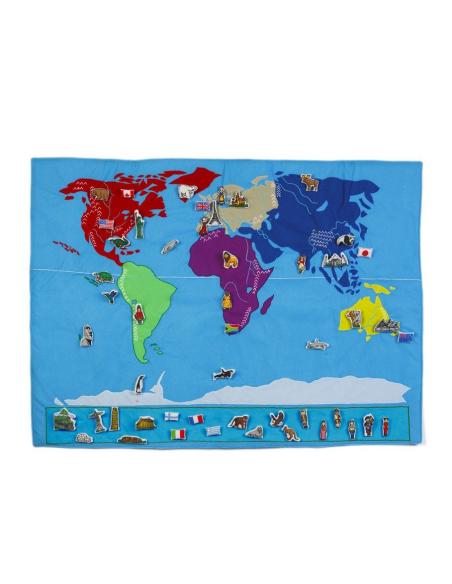 Planisphère figurine personnage Planisphère tissu Montessori carte monde jeu didactique pedagogique maternelle primaire jouet os