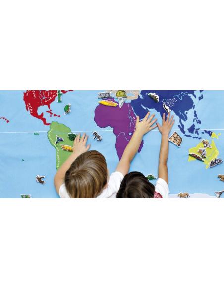 Planisphère en tissu Montessori carte monde jeu didactique pedagogique maternelle primaire apprendre jouet oskar&ellen