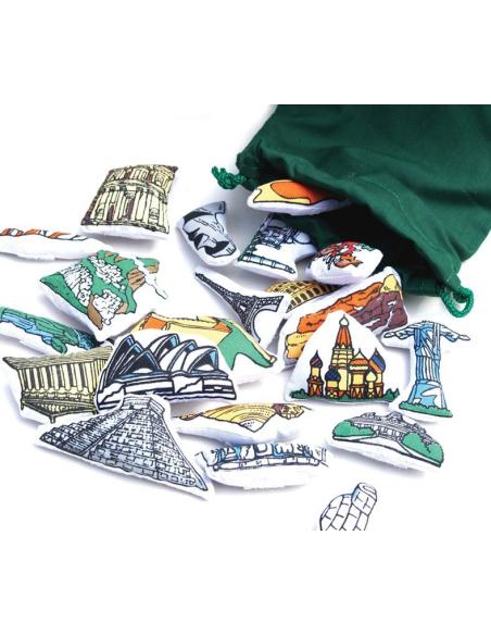 monument Planisphère tissu Montessori carte monde jeu didactique pedagogique maternelle primaire jouet fait main