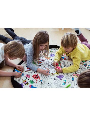 Sac Tapis Play&go jouet a colorier textile enfant hopital collectivité garderie nourrice nounou ecole maternelle crèche