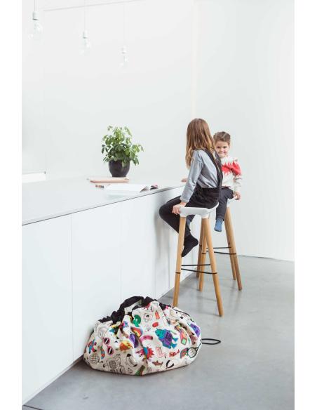 Sac Tapis Play and go jouet colorier textile enfant hopital collectivité garderie nourrice nounou ecole maternelle crèche rangem