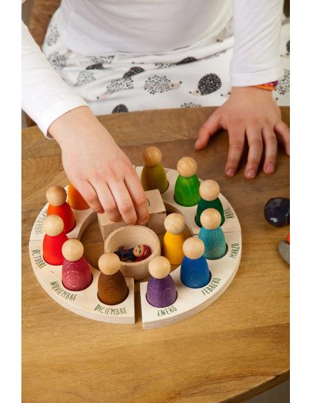 Chaîne CALENDRIER annee an perpetuelle calendrier bois boules billes materiel montessori steriner waldorf grapat corde
